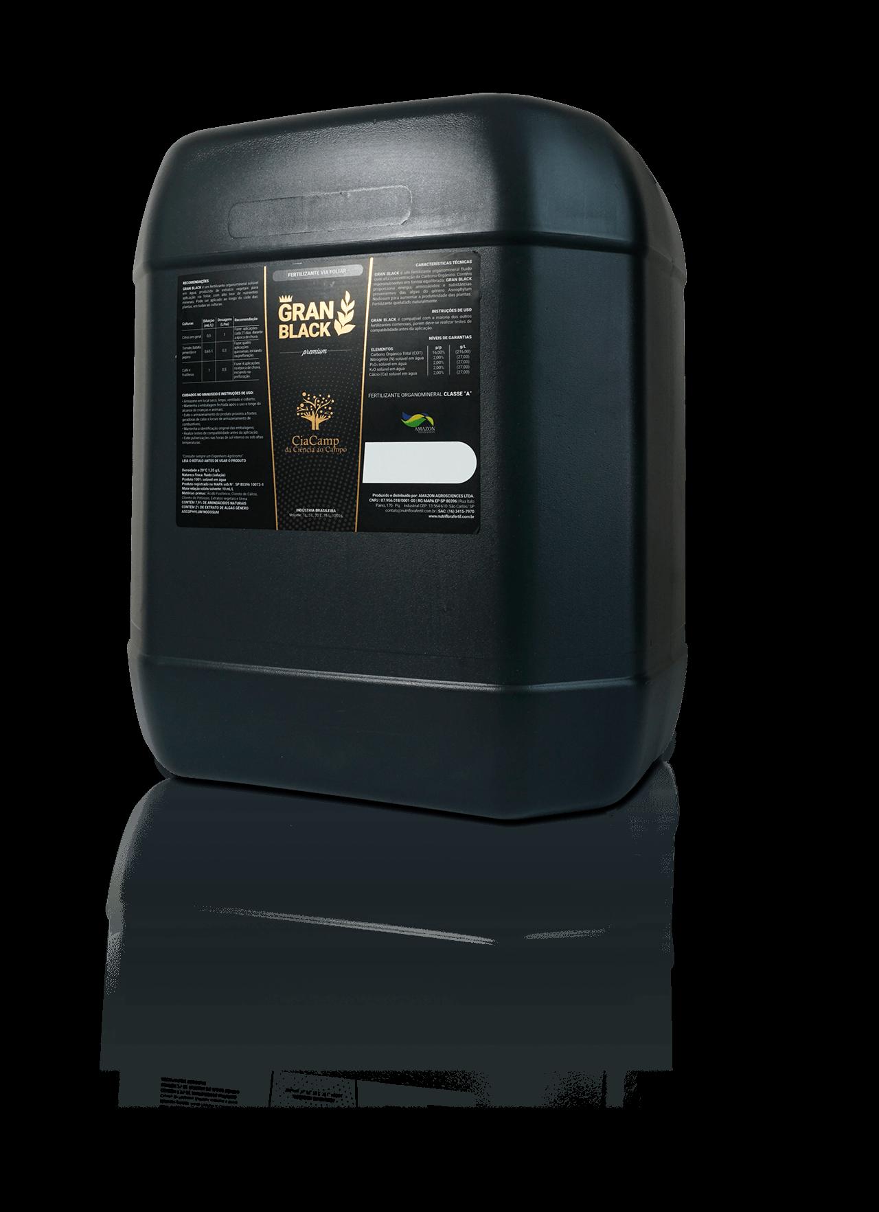 GRANBLACK Fertilizante Foliar Organomineral Premium Mockup Bomba de 20L do Produto Com Reflexo Versão 2
